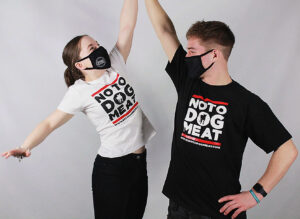 Left to right: Bex and Alfie's model charity merchandise