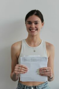 Charlotte celebrates her A level results